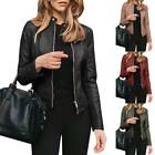 'Women Ladies Casual Faux Leather Jacket Zip Biker Jacket Blazer Coat Outwears