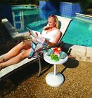 Adjustable Pool Side Outdoor Patio Table With Beverage Holders - Weighted Base