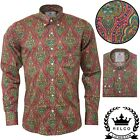 Relco Mens Platinum Multi Print Paisley Long Sleeve Shirt Button Down Collar NEW
