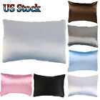 Pure Solid Satin Silk Pillowcase Covers Luxurious Soft Sofa Bedding Accessories