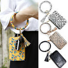 Keychain Circle Card Bags For Women Girls Wallet PU Leather Wristlet Keyring