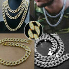 Mens Cuban Chain Silver Gold Thick Hip Hop Miami Diamond Link Necklace Iced UK