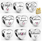 Genuine 925 Silver Family Love Aunt Heart Mothers Day Charm Beads +Gift Box