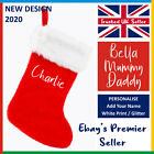 'Personalised Christmas Stocking: Red Or Green *add Your Name* Xmas Printed