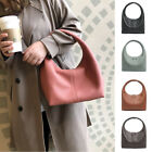 Real Leather Rounded U-Top Hobo Shoulder Bag Slouch Purse Small Baguette Tote