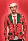 Men's M ~OR~ XL 3D Christmas Ugly Sweater Long Sleeve Shirt Suit & Tie Gag Funny