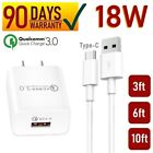 18W fast Wall Charger + Type-C USB Cable For iPad Pro 2,3,4 12.9, Air 4th gen[Q3