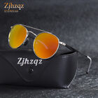 Womens Vintage Steampunk Polarized Sunglasses Mens Pilot Round Red Blue Mirrors