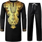 Men African 2 Piece Set Long Sleeve Gold Print Dashiki and Pant Traditional Suit