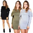Ladies Cold Shoulder Top Frill Knitted Sweater Long Sleeve Womens Casual Jumpers