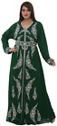 Bottle Green Turkish Kaftan Long Sleeve Dress With Silver Beads Embroidery 8418