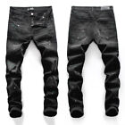 New Italy Pop Ripped Style Men's Skinny Pants Paint Spots Black Jeans AM8099T