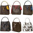 Michael Kors Suri Large Bucket Drawstring Bag Brown MK Signature Graphic Logo