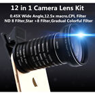 12in1 Phone SLR Camera Lens Wide Macro CPL Color Graduated Lens for iPhone 11 XS