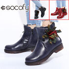 SOCOFY Women Retro Solid Color Handmade Leather Short Boots Casual Shoes Flat