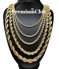 "Rope Chain Necklace 3mm To 10mm 16"" To 30"" 14k Gold Plated Mens Hip Hop Jewelry"