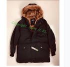 Guys Hollister Faux-Fur-Lined Military Parka Black New With tags!!!