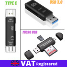 USB CARD READER 3.0 HIGH SPEED MICRO SD Type C MEMORY SDHC SDXC Android PC CAM