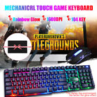 Gaming Keyboard Mouse Combo Backlit Rainbow LED Wired USB For Laptop Computer US