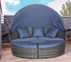 Large Rattan Sofa Set Garden Patio Furniture Wicker Round Table Day Bed Canopy