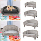 Wicker Cuddle Raised Pet Cat Dog Bed Handmade Sofa Couch Cushion Blanket Bed