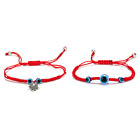 2pcs/set Evil Eye Hamsa Bracelet Charm Blue Bead Lucky Red Rope String Braide