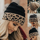 Fashion Women Men Winter Warm Leopard Print Beanie Hat Soft Beanie Cap Hat