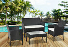 Rattan Garden Furniture Set 4pc Outdoor Table Chair Sofa Conservatory Patio Blac