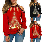 Women Loose Cold Shoulder Hollow Out Long Sleve T-Shirt Top Summer Casual Blouse