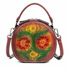 Women Genuine Cow Leather Shoulder Bag Purse Box Flower embossed Mini Red