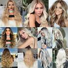 Women Ladies Long Wavy Curly Wigs Ombre Blonde Party Cosplay Front Full Hair Wig