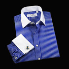 Blue Stripe Formal Business With Contrast Collar and Cuff Professional Dress