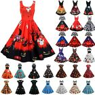 Womens Retro Witch Pumpkin Ghost Scary Skater Dress Party Cosplay Fancy Dress