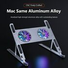 Laptop Cooling Stand Holder Pad 8 Height Levels Aluminum Riser w/ 2 Cooling Fans