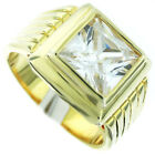Square Cut Simulated Diamond 18kt Gold Plated Ring New