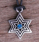 6 Pointed Solomon Hexagram Star of David Talisman Pewter Pendant W black cord