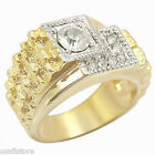 Mens 18Kt Gold Plated Swarovski Crystal Pave Ring