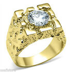 Mens Rampart Simulated Diamond 18Kt Gold Plated Ring