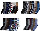 12 PAIRS Modern PATTERN Men's 12 Pack Modern Dress Crew Socks Size 10-13 #70501Z
