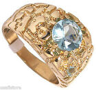Mens Round Simulated Aquamarine 18kt Gold Plated Ring