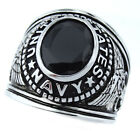 Jet Black Stone US Navy Military Rhodium EP Mens Ring