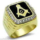 Large Square Design Masonic Mason 18kt Gold EP Mens Ring