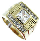 Square Cut Clear CZ Stone Tutone 18kt Gold EP Mens Ring