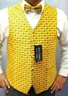 MEN'S QUALITY YELLOW MUSIC NOTES WAISTCOAT & BOWTIE SET