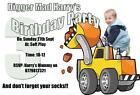 Boys Digger Truck Birthday Party Invitations Invites