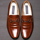 Mens Leather Motion Loafers Dress Brown Shoes