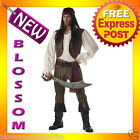 C198 Rogue Pirate Brown Buccaneer Mens Fancy Dress Adult Costume