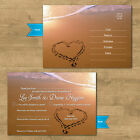 Personalised Wedding RSVP Cards + Envelopes Beach Heart In Sand Married Abroad
