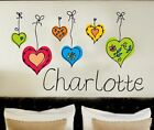 Your Name Personalised Wall Art Stickers Kids Hearts , Bedroom , Girls