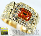 Mens Simulated Topaz Yellow CZ 18kt Gold Plated Ring